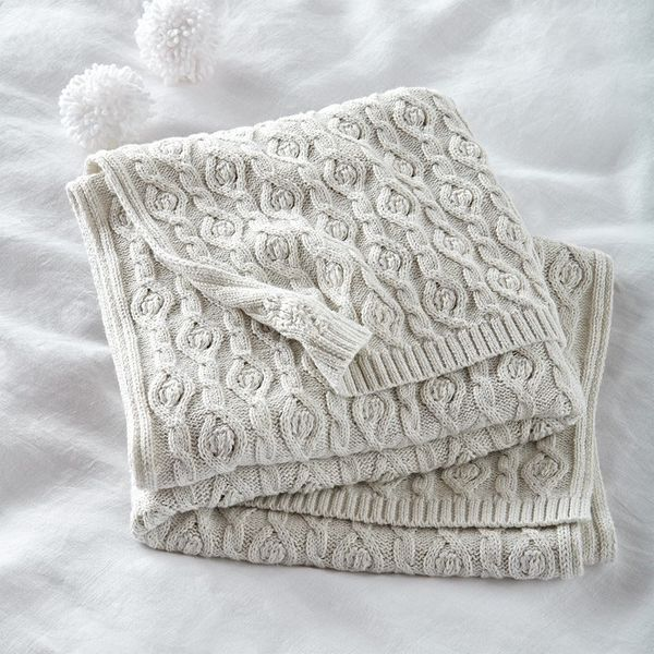 The White Company Cotton-Cashmere Cable-Knit Baby Blanket