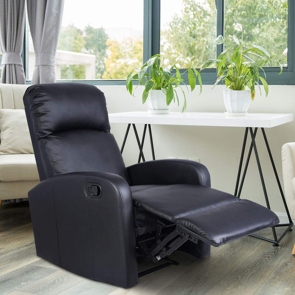 Giantex Manual Recliner Chair Black Lounger Leather Sofa Seat