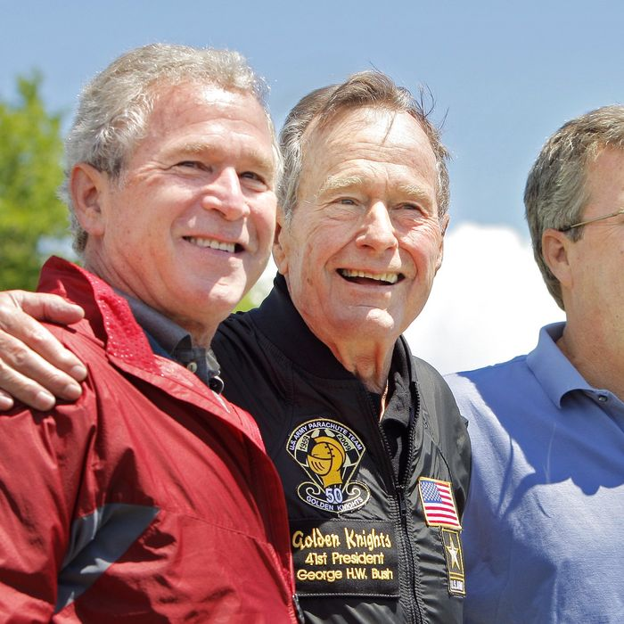 George H.W. Bush is flanked by his sons George W. Bush and Jeb* after completing a parachute jump in Kennebunkport on Friday, June 12, 2009 for his 85th birthday.