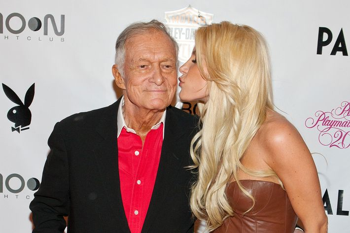 Hugh Hefner and Crystal Harris pictured at Playboy Playmate of The Year Announcement Ceremony at MOON Nightclub at Palms Casino Resort in Las Vegas, NV on May 6, 2011.