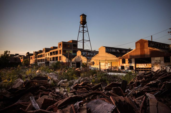Ruins at the abandoned Packard Automotive Plant are seen on September 4, 2013 in Detroit, Michigan.