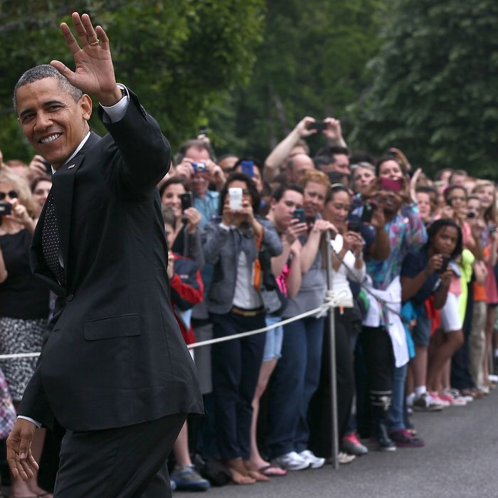 WASHINGTON, DC - MAY 02: U.S. President Barack Obama waves as he arrives at the White House May 2, 2012 in Washington, DC. Obama was returning from an unannounced trip to Afghanistan on the one year anniversary of the raid on the compound of Osama bin Laden. (Photo by Win McNamee/Getty Images)