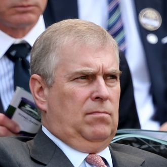LONDON, ENGLAND - JULY 05: Prince Andrew, Duke of York watches the Gentlemen's Singles semi-final match between Novak Djokovic of Serbia and Juan Martin Del Potro of Argentina on day eleven of the Wimbledon Lawn Tennis Championships at the All England Lawn Tennis and Croquet Club on July 5, 2013 in London, England. (Photo by Clive Brunskill/Getty Images)