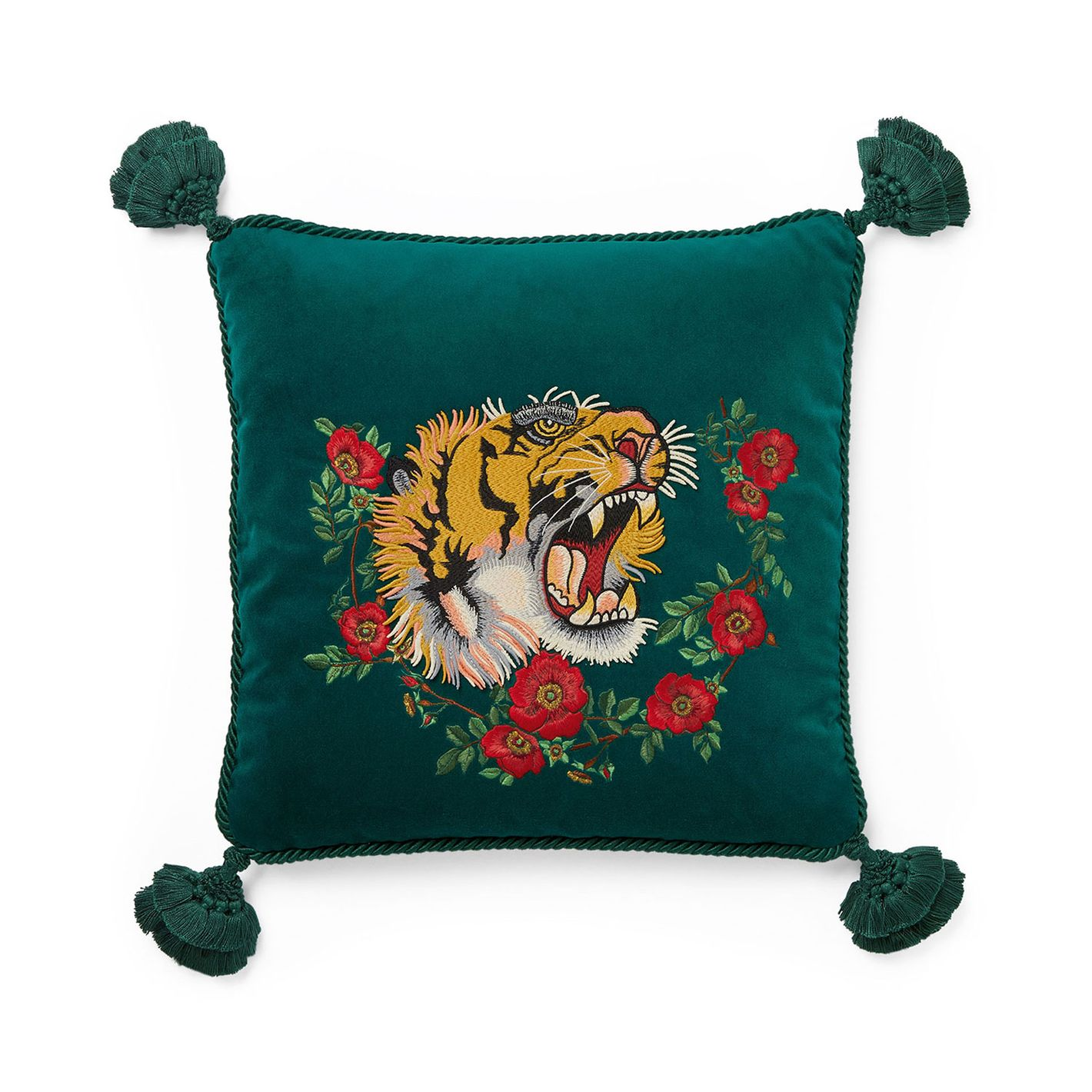 Gucci Velvet Cushion With Tiger Embroidery