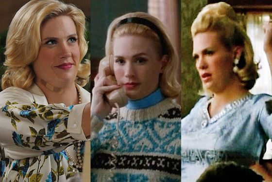 """Wasn't <a href=""http://nymag.com/daily/fashion/2012/06/mad-men-fashion-recap-sallys-womanhood.html"">that ski sweater</a> amazing? Not only that, but she was wearing vintage quilted ski pants for that scene. We didn't get to see them as well as we should have. I go nuts for vintage sweaters, particularly the knits of that period. I also loved the dress that I designed for her in <a href=""http://nymag.com/daily/fashion/2012/04/mad-men-fashion-recap-bettys-fat-days.html"">episode three</a>, when she makes her first appearance — that silver and blue brocade dress that was too tight. I loved how Betty looked in the room. I had actually designed another dress for her for that same scene that was pink and gold brocade, but I wasn't happy with how the colors worked with the wallpaper that the production designer had put in that room, so I had to design another dress for her quickly. It was so important for her color palette to work with the set in that scene, since it was such an important moment when we first see Betty."""