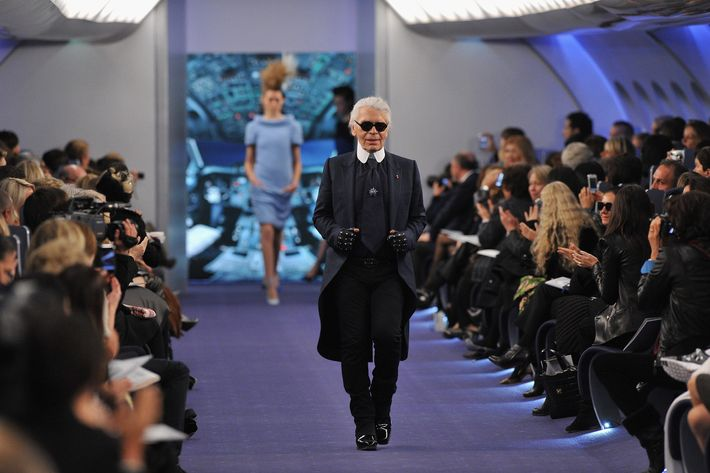 Karl Lagerfeld acknowledges the applause of the audience after the Chanel Haute-Couture Spring / Summer 2012 Show as part of Paris Fashion Week at Grand Palais on January 24, 2012 in Paris, France.
