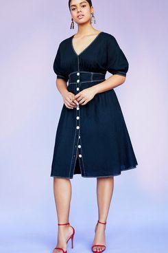 Eloquii V-Neck Contrast Stitching Dress