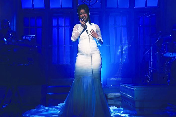 Cardi B performing on Saturday Night Live.