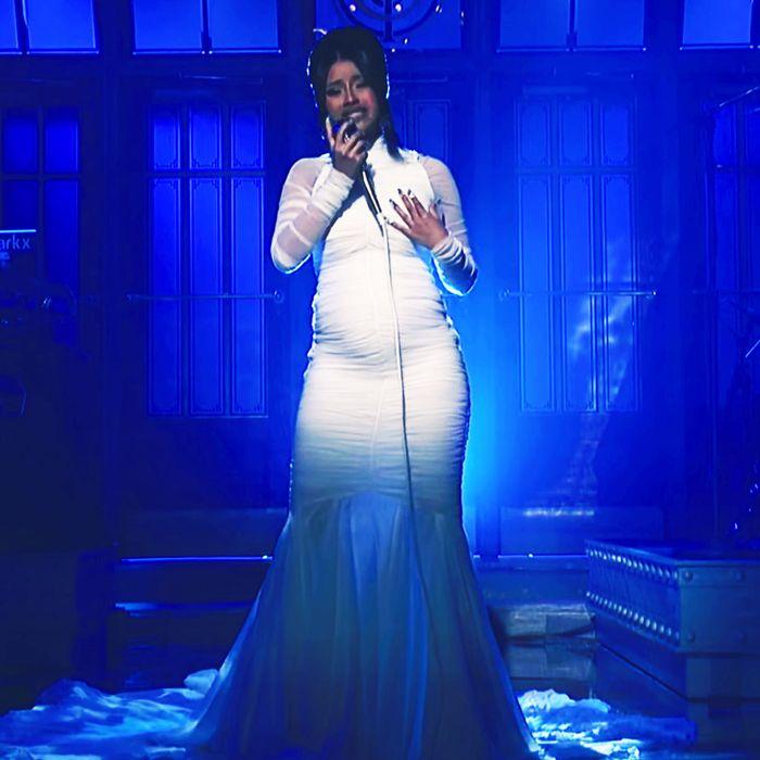 Cardi B performing on Saturday Night Live.