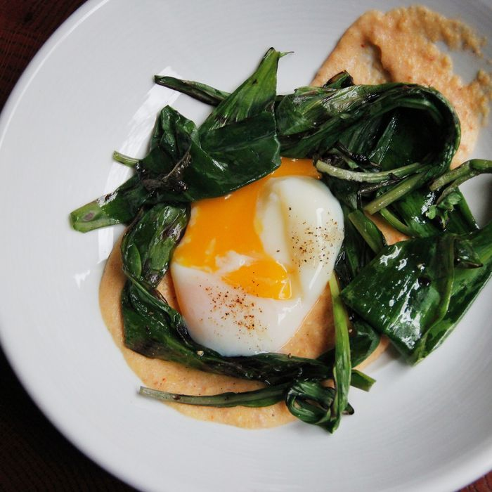 The Marrow pairs grilled ramps with polenta, njuda, and a steamed egg.