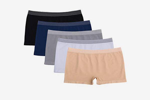 Ruxia Women's Seamless Boyshort Panties (5-Pack)
