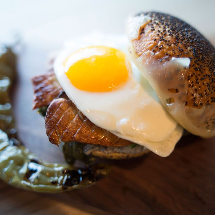The Forager breakfast sandwich: seared Nebrodini mushroom, braised kale, farm egg, Swiss, and black-trumpet mayo.