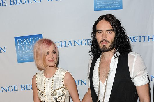 "Singer Katy Perry (L) and actor Russell Brand attend the 3rd Annual ""Change Begins Within"" Benefit Celebration presented by The David Lynch Foundation held at LACMA on December 3, 2011 in Los Angeles, California."