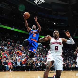 ATLANTA, GA - APRIL 3: Raymond Felton #2 of the New York Knicks glides to the basket against the Atlanta Hawks on April 3, 2013 at Philips Arena in Atlanta, Georgia. NOTE TO USER: User expressly acknowledges and agrees that, by downloading and/or using this Photograph, user is consenting to the terms and conditions of the Getty Images License Agreement. Mandatory Copyright Notice: Copyright 2013 NBAE (Photo by Scott Cunningham/NBAE via Getty Images)