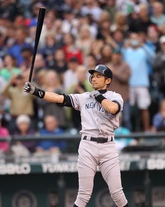 Ichiro Suzuki #31 of the the New York Yankees bats against the Seattle Mariners at Safeco Field on July 23, 2012 in Seattle, Washington. Suzuki was traded from the Mariners to the Yankees earlier in the day.