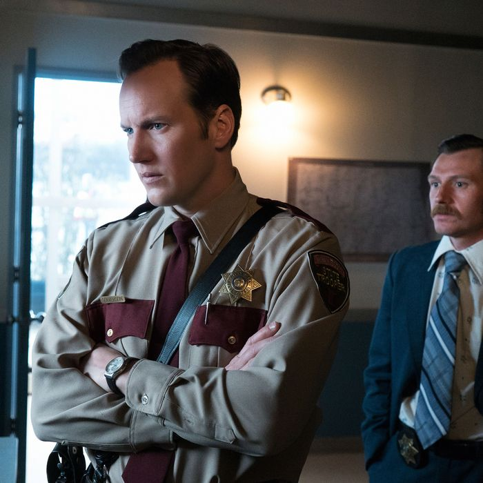 """FARGO -- """"Did You Do This? No, you did it!"""" -- Episode 207 (Airs Monday, November 23, 10:00 pm e/p) Pictured: (l-r) Patrick Wilson as Lou Solverson, Keir O'Donnell as Ben Schmidt. CR: Chris Large/FX"""