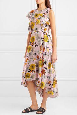 Maje One-shoulder floral-print crepe midi dress