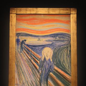 NEW YORK, NY - APRIL 27: Edvard Munch's 'The Scream' is seen at a media preview of Sotheby's May 2012 Sales of Impressionist, Modern and Contemporary Art on April 27, 2012 in New York City. The masterpiece is one of four versions created by Munch and the only one that is privately owned. It will be auctioned May 2 and is expected to fetch over $80 million. (Photo by Mario Tama/Getty Images)
