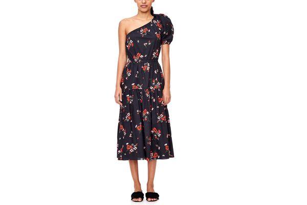 Rebecca Taylor One-Shoulder Marguerite Floral Poplin Dress