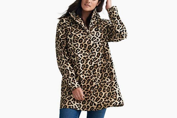 Ellos Plus Size Animal Print Hooded Raincoat