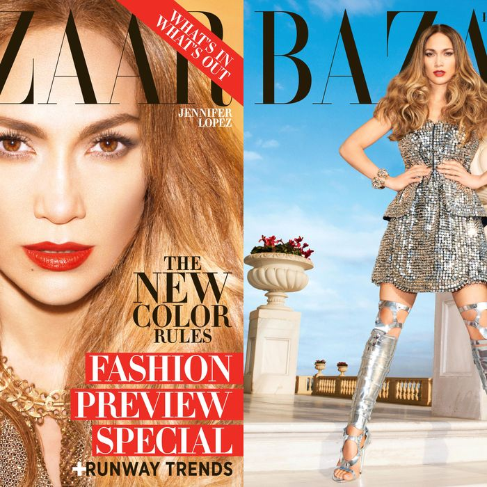 J. Lo's newsstand cover, left; subscriber's cover, right.
