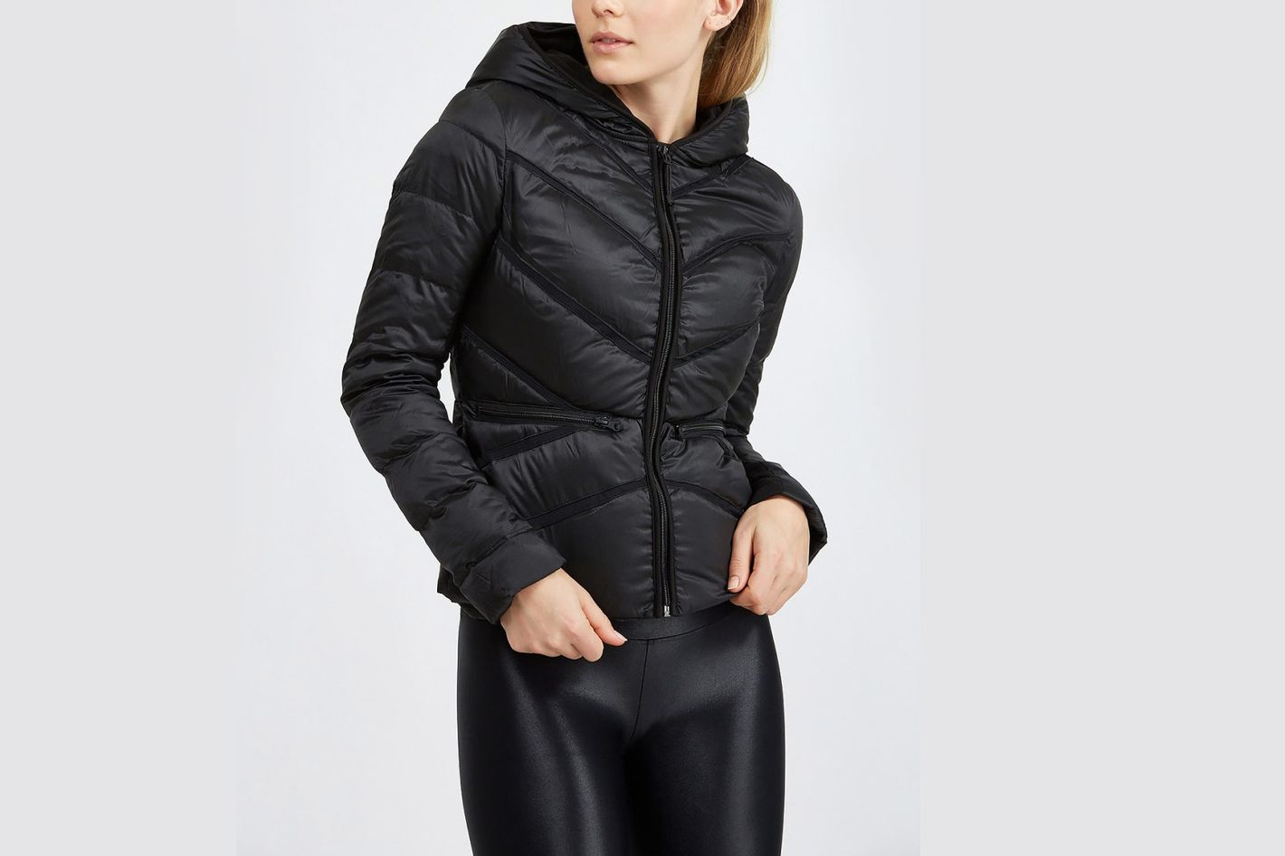 Blanc Noir Zip Front Hooded Jacket