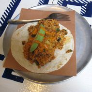 Chorizo-bacon breakfast taco.