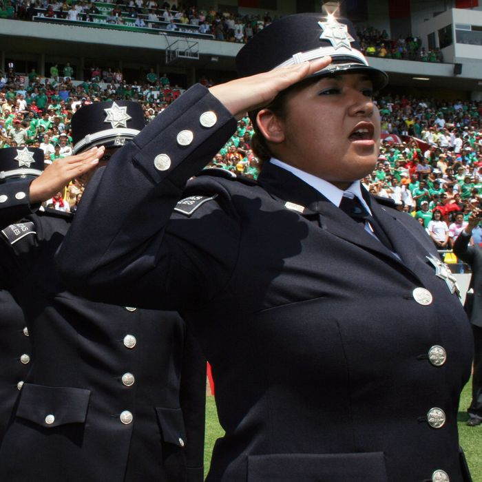 Mexican federal police women during the FIFA under 17 World Cup in 2011.