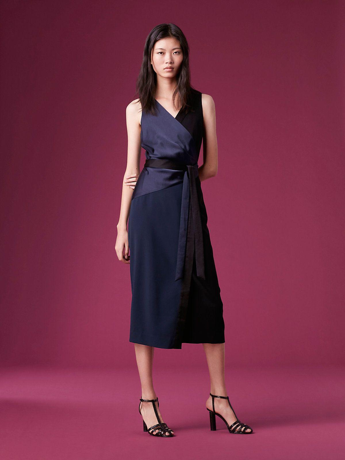 Sleeveless Taped Wrap Dress