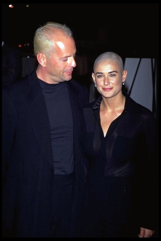 "Before Ashton Kutcher and Vito Schnabel were a glimmer in her eye, Demi Moore was married to Bruce Willis and shaved her head for the lead role in <i>G.I. Jane</i>, a flop of a movie about a woman who joins the Army. Moore won a <a href=""http://voices.yahoo.com/the-top-10-actresses-won-razzie-worst-5555651.html?cat=2"">Razzie for worst actress</a> for her role, but was committed to it, even hosting a ""<a href=""http://www.filmscouts.com/scripts/matinee.cfm?Film=gi-jane&File=productn"">shave your dome</a>"" party at a nightclub. Vintage gossip: Bruce <a href=""http://www.people.com/people/archive/article/0,,20125762,00.html"">never once visited the <i>G.I. Jane</i> set</a> the entire time Demi was filming."