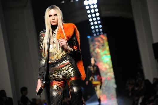 A model walks the runway during the Jean-Paul Gaultier Ready-To-Wear Fall/Winter 2012 show as part of Paris Fashion Week on March 3, 2012 in Paris, France.
