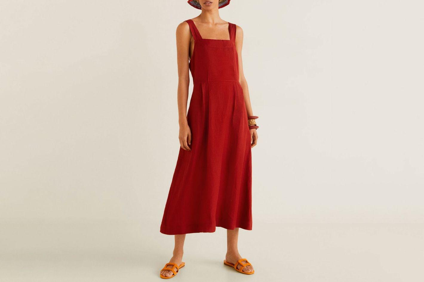 Mango Linen Midi Dress