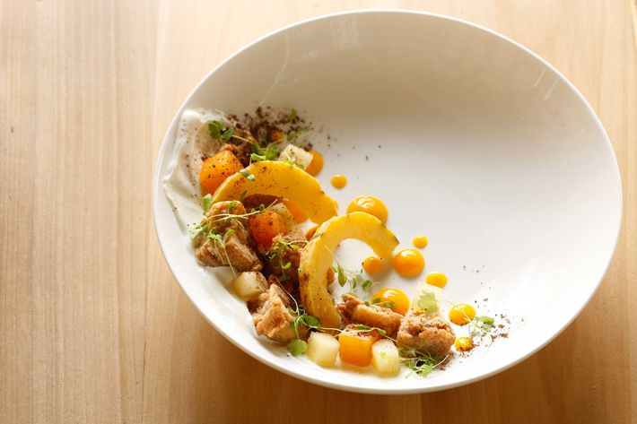 Sweetbreads, squash, sheep's-milk yogurt, Chinese five spice.