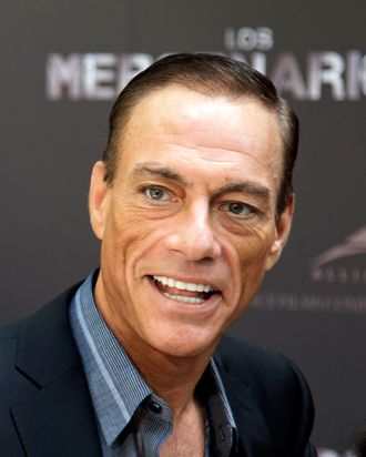 Actor Jean-Claude Van Damme attends 'The Expendables 2' ('Los Mercenarios 2') photocall at Ritz hotel on August 8, 2012 in Madrid, Spain.