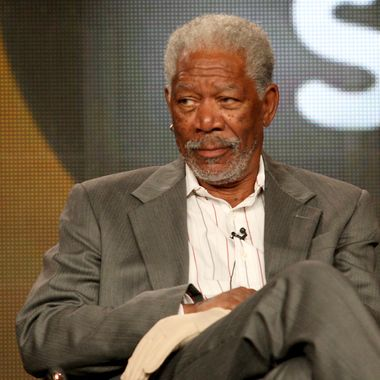 "PASADENA, CA - JANUARY 13:  Actor Morgan Freeman of the television series ""Are We Alone"" speaks during the Discovery Networks portion of the 2012 Television Critics Association Press Tour at The Langham Huntington Hotel and Spa on January 13, 2012 in Pasadena, California.  (Photo by Frederick M. Brown/Getty Images)"