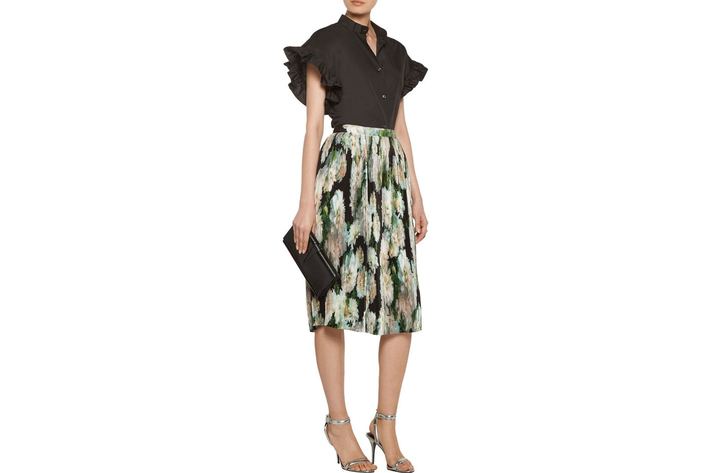 Adam Lippes Pleated Satin Skirt