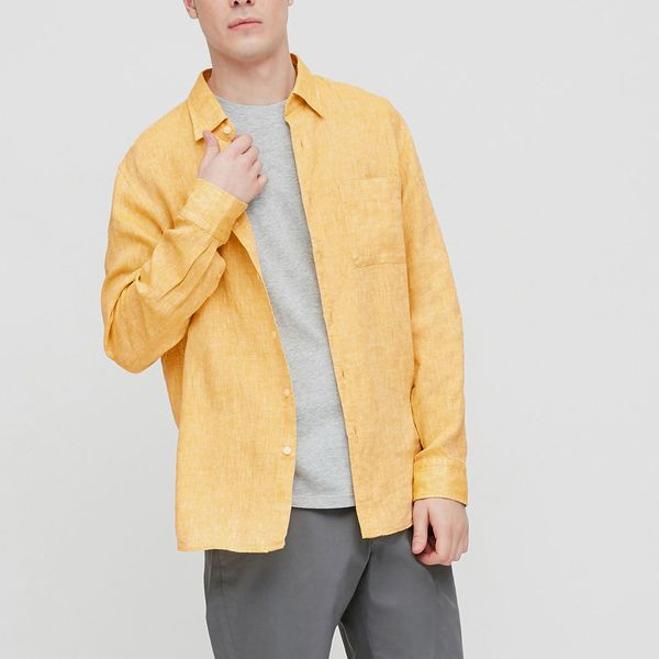 Uniqlo Men's Premium Long-Sleeve Linen Shirt