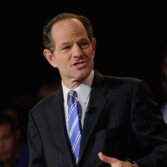 Eliot Spitzer speaks during the Dish Network War Of The Words at Hammerstein Ballroom on September 13, 2012 in New York City.