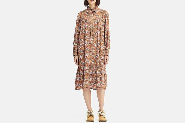 Women Gathered Long-Sleeve Dress