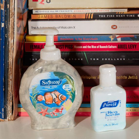 Ceramic sculptures of soap and Purell