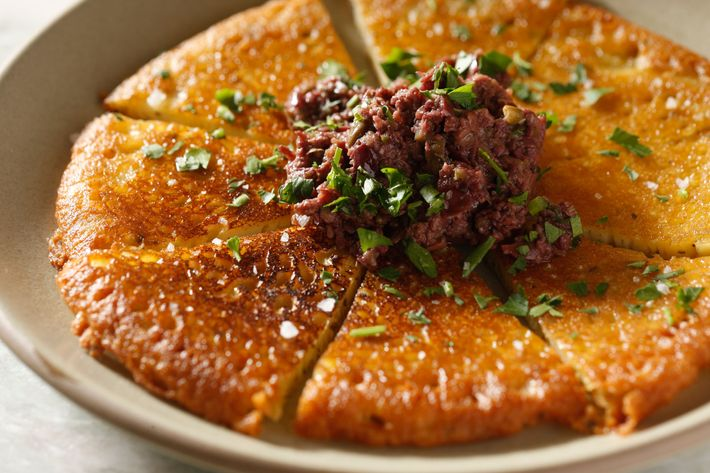 Cecina with olive tapenade.