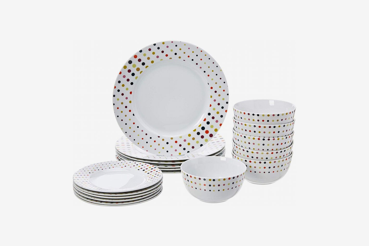 AmazonBasics 18-Piece Dinnerware Set – Dots, Service for 6