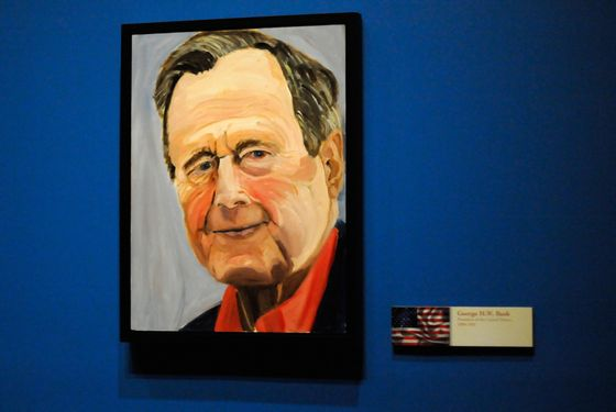 "04 Apr 2014, Dallas, Texas, USA --- A portrait of former President George H.W. Bush painted by his son former President George W. Bush, which is part of the exhibit ""The Art of Leadership: A President's Diplomacy,"" is on display at the George W. Bush Presidential Library and Museum in Dallas, Friday, April 4, 2014. The exhibit of portraits of world leaders painted by Bush opens Saturday and runs through June 3. (AP Photo/Benny Snyder) --- Image by © Benny Snyder/AP/Corbis"