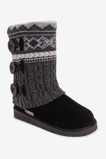 Muk Luks Cheryl Faux-Fur-Lined Side-Button Pattern Knit Boot