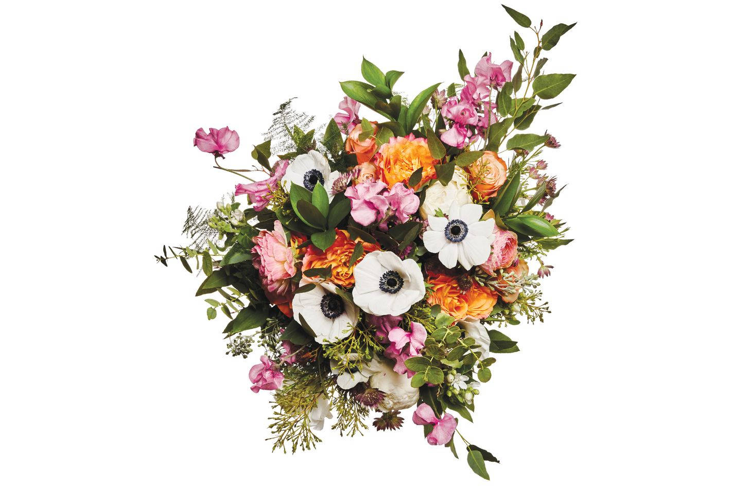 Anemone, sweet pea, peony, tweedia, rose, ranunculus, astrantia, cham­elaucium foliage, rainbow and seeded eucalyptus, and asparagus fern
