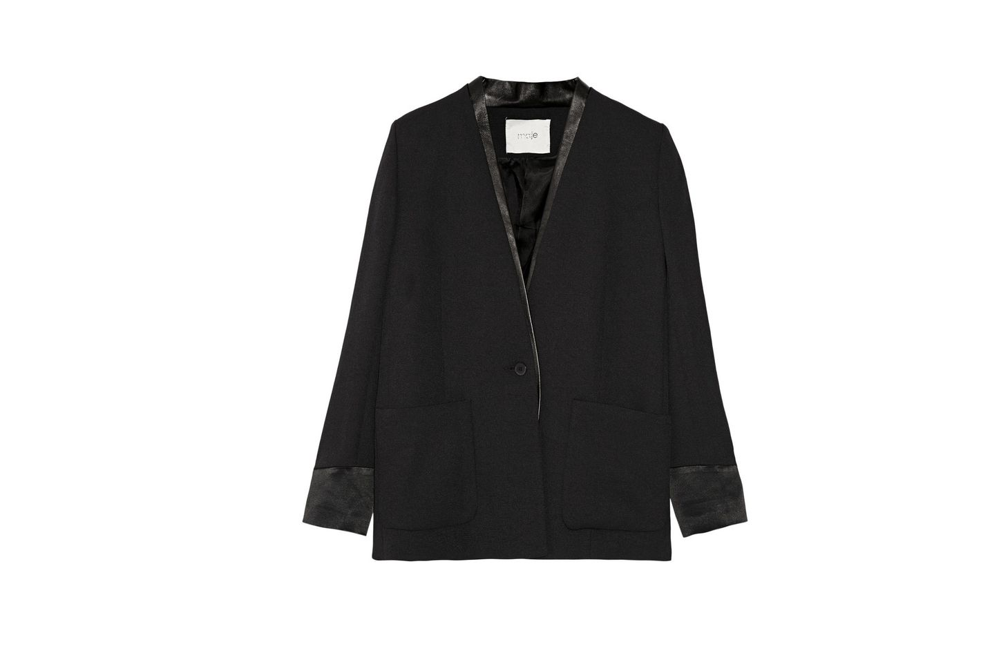 Maje Leather Trimmed Crêpe Blazer