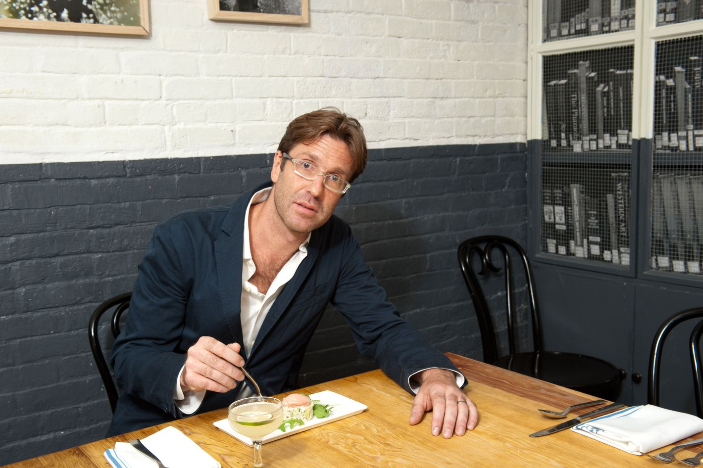 """Goldfarb at Louro, which he considers """"a proper neighborhood restaurant."""""""