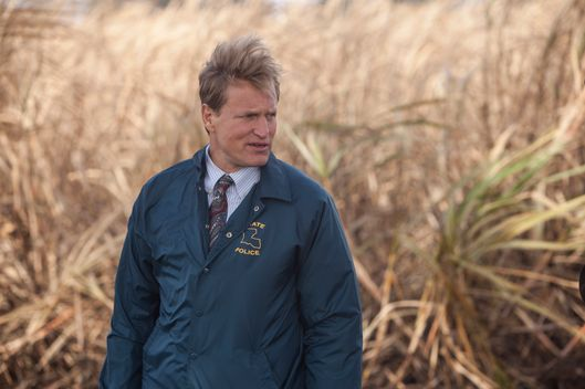 "SCENE 1.4 / Exterior Sugarcane Field - Crime Scene (1995) - Marty and Cohle arrive at the body. / Photo: Jim Bridges/HBO  HBO's ""True Detective"" Season 1  Director: Cary Fukunaga  Matthew McConaughey: Rustin Cohle Woody Harrelson:  Martin Hart"