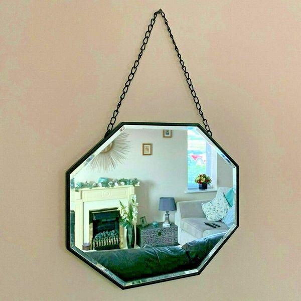 Darthome Ltd Industrial Metal Chain Hanging Octagonal Bathroom Glass Wall Mounted Mirror 36cm