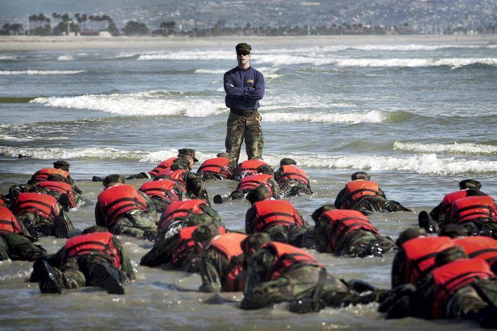 A Navy SEAL training course on April 15, 2003 in Coronado, California.